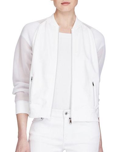 Lauren Ralph Lauren Mesh Sleeve Bomber Jacket-WHITE-Medium 89209312_WHITE_Medium