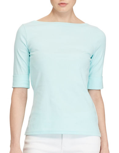 Lauren Ralph Lauren Petite Stretch Cotton Boat Neck Tee-LIGHT AQUA-Petite Medium 89152708_LIGHT AQUA_Petite Medium