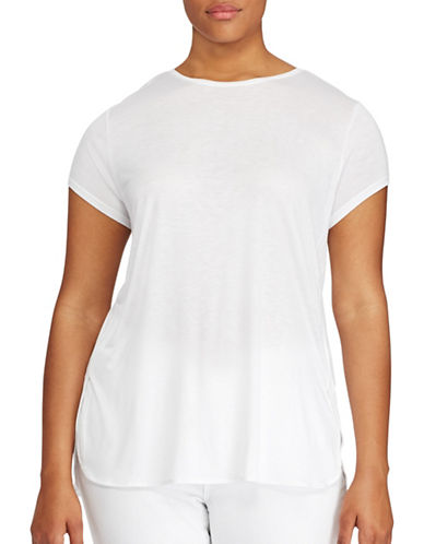 Lauren Ralph Lauren Plus Jersey Tee-WHITE-3X 89160849_WHITE_3X