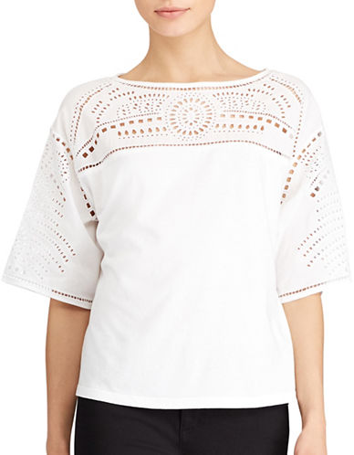 Lauren Ralph Lauren Plus Eyelet-Embroidered Top-WHITE-2X 89160864_WHITE_2X