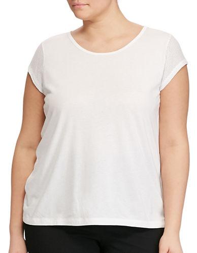 Lauren Ralph Lauren Plus Alvarsha Mesh-Sleeve Tee-WHITE-1X 89160867_WHITE_1X