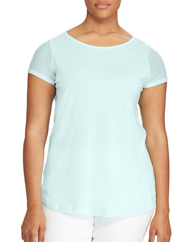 Lauren Ralph Lauren Plus  Mesh-Sleeve Tee-BLUE-1X 89160870_BLUE_1X