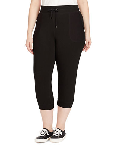 Lauren Ralph Lauren Plus Cropped Skinny Sweatpants-BLACK-1X 89160874_BLACK_1X