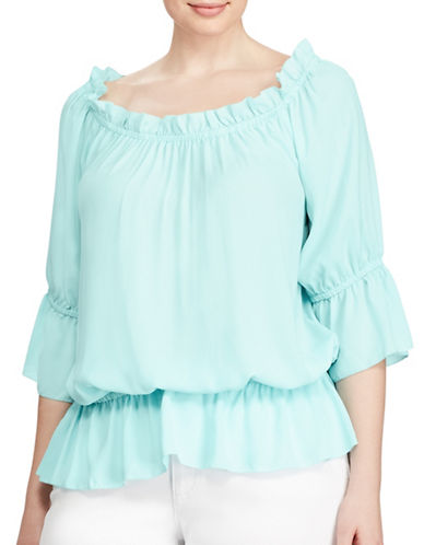 Lauren Ralph Lauren Plus Georgette Off-The-Shoulder Top-BLUE-1X