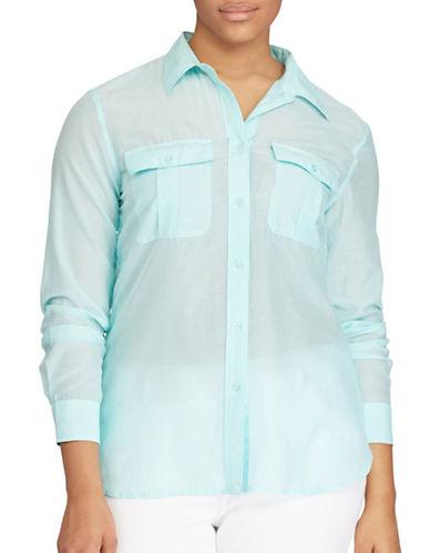 Lauren Ralph Lauren Plus Straight-Fit Silk-Blend Shirt-BLUE-1X