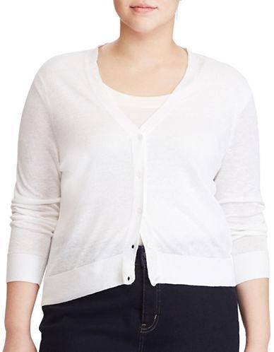 Lauren Ralph Lauren Plus Eyelet-Back Linen Cardigan-WHITE-2X