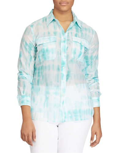 Lauren Ralph Lauren Plus Tie-Dye Button-Down Shirt-MULTI-2X