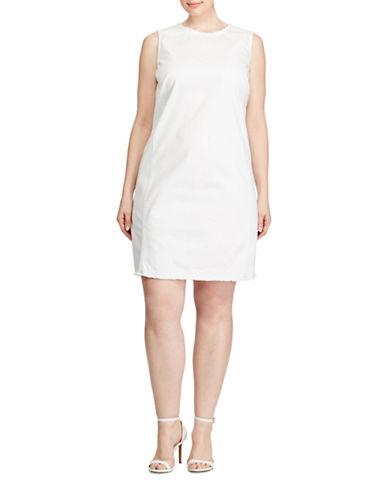Lauren Ralph Lauren Plus Denim Sheath Dress-WHITE-14W