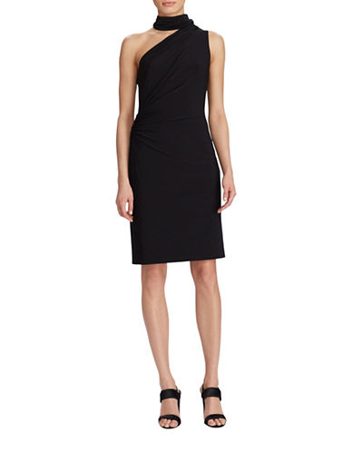 Lauren Ralph Lauren One-Shoulder Jersey Sheath Dress-BLACK-12