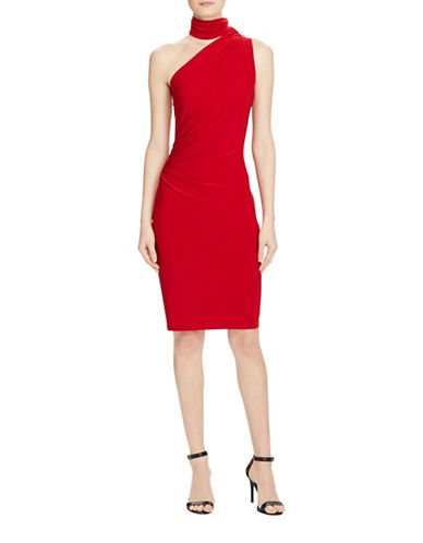 Lauren Ralph Lauren One-Shoulder Jersey Sheath Dress-RED-14