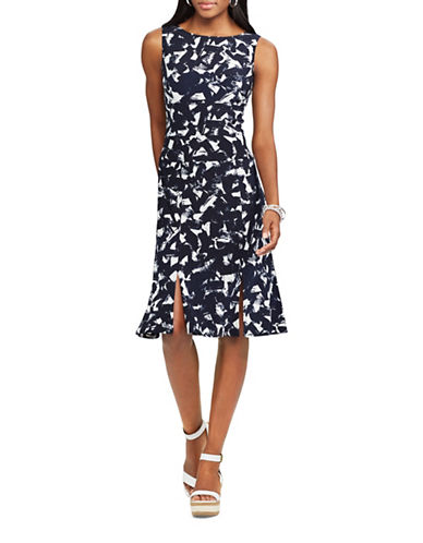 Chaps Abstract-Print Jersey Fit-and-Flare Dress-NAVY/CREAM-Small