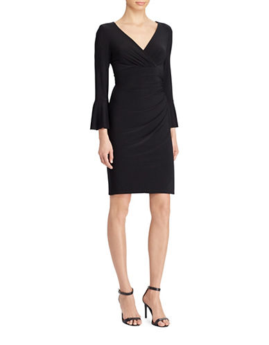 Lauren Ralph Lauren Jersey Surplice Dress-BLACK-2