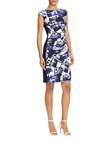 Lauren Ralph Lauren Abstract Jersey Sheath Dress-NAVY MULTI-14