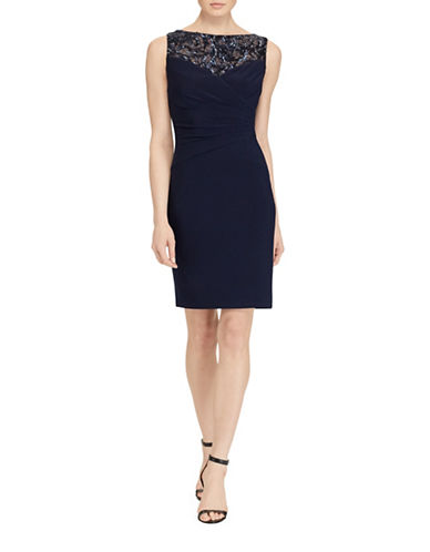 Lauren Ralph Lauren Sequined-Yoke Sheath Dress-BLUE-12