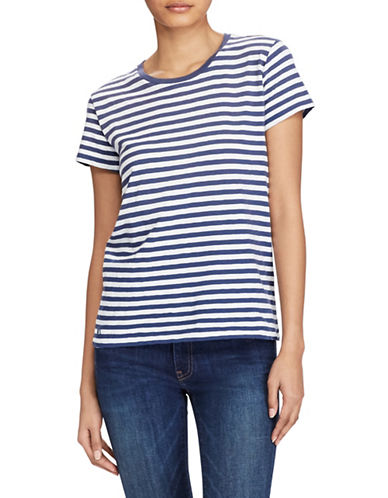 Polo Ralph Lauren Striped Cotton Jersey T-Shirt-BLUE-X-Small