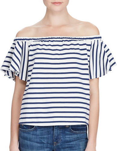 Polo Ralph Lauren Striped Off-the-Shoulder Top-WHITE-X-Large