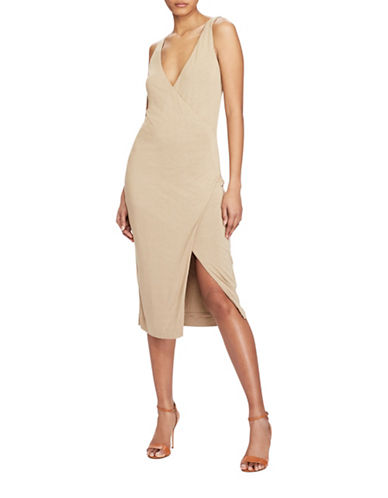 Polo Ralph Lauren Jersey V-Back Dress-BEIGE-Medium