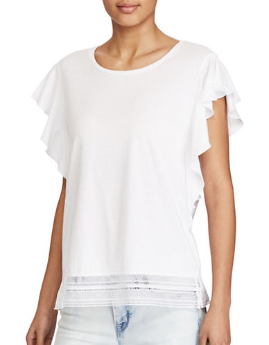 Lauren Ralph Lauren Lace-Hem Stretch Cotton Tee-WHITE-X-Large 89152420_WHITE_X-Large