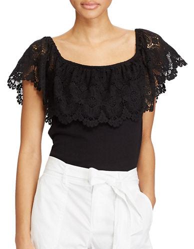 Lauren Ralph Lauren Lace Off-the-Shoulder Cotton Top-POLO BLACK-X-Large