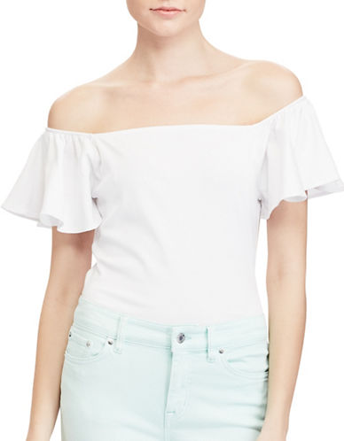 Lauren Ralph Lauren Jersey Off-Shoulder Top-WHITE-X-Large