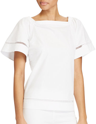 Lauren Ralph Lauren Petite Cotton Off-the-Shoulder Top-WHITE-Petite Small