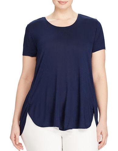 Lauren Ralph Lauren Plus Relaxed-Fit Jersey Tee-BLUE-1X 89160850_BLUE_1X