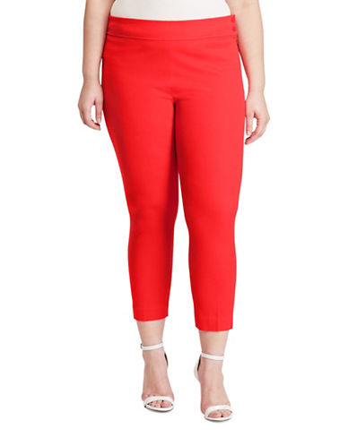 Lauren Ralph Lauren Plus Stretch Twill Skinny Pants-RED-14W