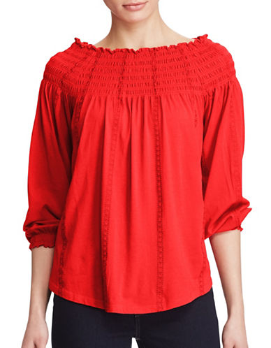 Lauren Ralph Lauren Plus Quarida-Knit Smocked Off-the-Shoulder Top-RED-3X