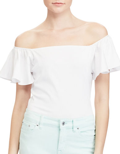 Lauren Ralph Lauren Plus Jersey Off-the-Shoulder Top-WHITE-2X