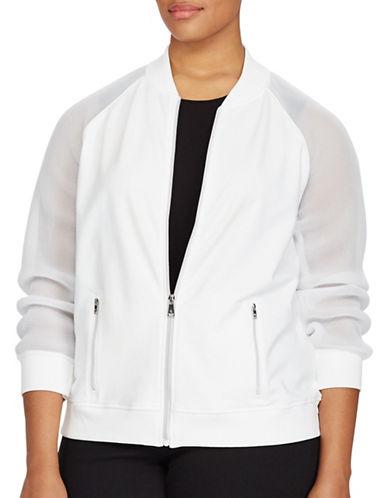 Lauren Ralph Lauren Plus Mesh-Sleeve Bomber Jacket-WHITE-1X 89160941_WHITE_1X