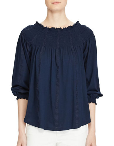 Lauren Ralph Lauren Smocked Off-the-Shoulder Top-INDIGO-Medium