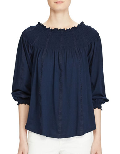 Lauren Ralph Lauren Plus Smocked Off-the-Shoulder Top-BLUE-1X 89161014_BLUE_1X