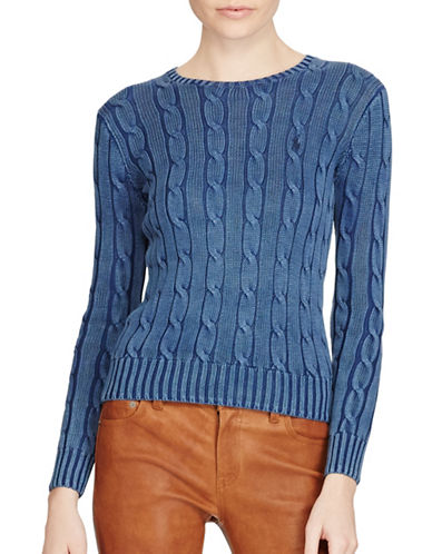 Polo Ralph Lauren Cable-Knit Cotton Sweater-INDIGO-Large
