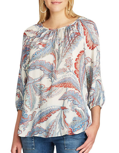 Chaps Leaf Print Georgette Peasant Top-MULTI-X-Small