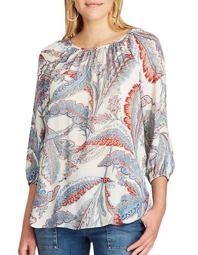 Chaps Petite Leaf Print Raglan Shirt-MULTI-Petite Small