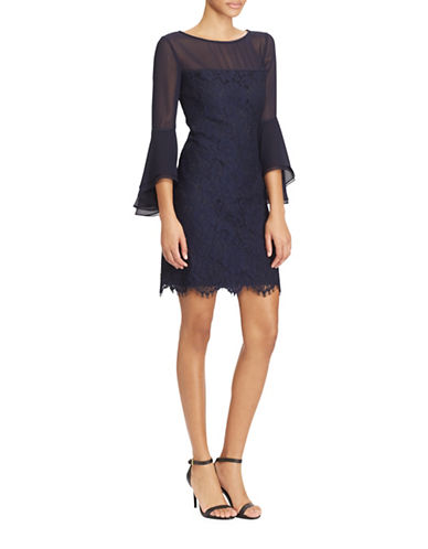 Lauren Ralph Lauren Garden Floral Lace Torina Bell-Sleeve Dress-LIGHTHOUSE NAVY-12
