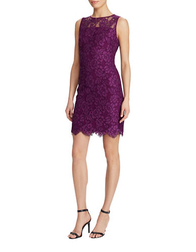 Lauren Ralph Lauren Scalloped Lace Sheath Dress-PLUM-6