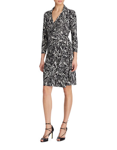 Lauren Ralph Lauren Berryann Geometric-Print Wrap Dress-BLACK/CREAM-8