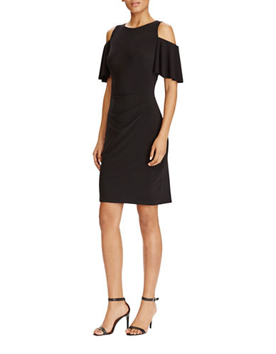 Lauren Ralph Lauren Cold-Shoulder Jersey Dress-BLACK-18