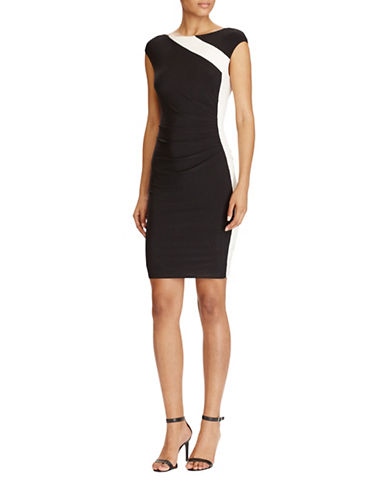 Lauren Ralph Lauren Colourblock Jersey Dress-BLACK/WHITE-12