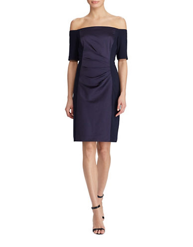 Lauren Ralph Lauren Off-the-Shoulder Satin Sheath Dress-NAVY-12