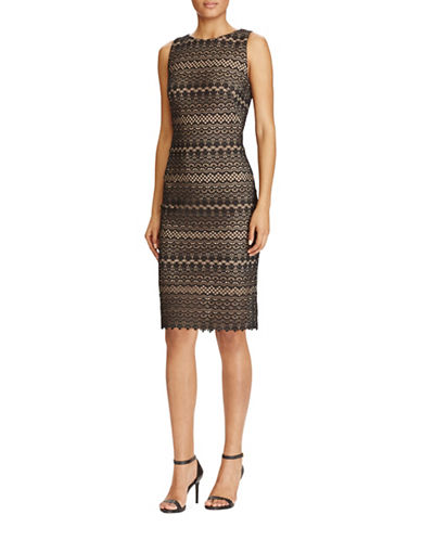 Lauren Ralph Lauren Scalloped Lace Sheath Dress-BLACK MULTI-10