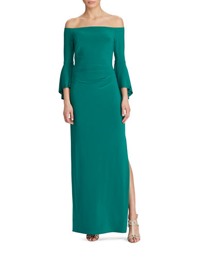 Lauren Ralph Lauren Slim-Fit Off-the-Shoulder Matte Jersey Gown-GREEN-2