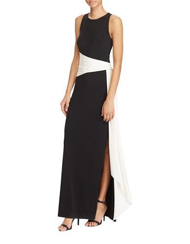 Lauren Ralph Lauren Slim-Fit Colourblock Jersey Gown-BLACK/WHITE-12
