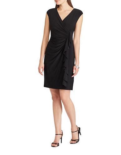 Chaps Ruffled Sheath Jersey Dress-BLACK-Small