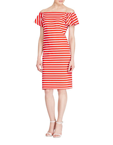 Lauren Ralph Lauren Striped Off-the-Shoulder-Dress-RED/WHITE-Large 89254991_RED/WHITE_Large