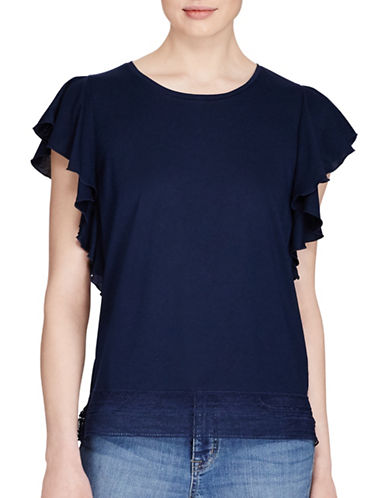 Lauren Ralph Lauren Lace-Hem Stretch Cotton Tee-INDIGO-Large