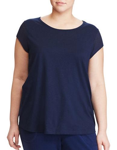 Lauren Ralph Lauren Plus Mesh Cap-Sleeve Jersey Top-BLUE-1X