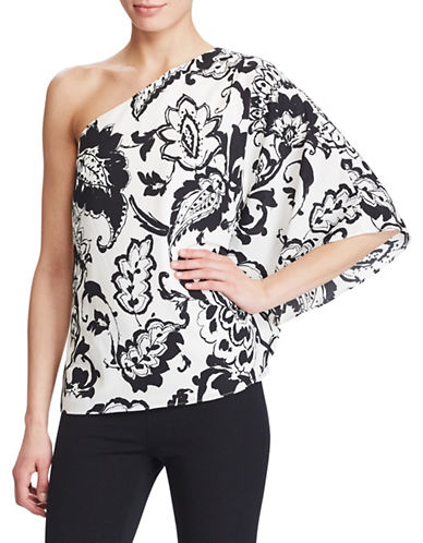 Lauren Ralph Lauren Paisley One-Shoulder Top-BEIGE-6