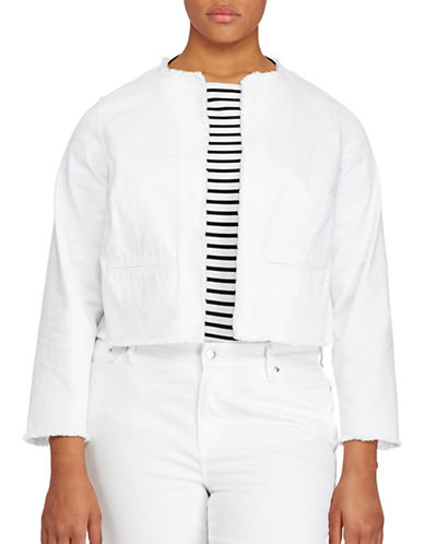 Lauren Ralph Lauren Plus Frayed Denim Jacket-WHITE-1X